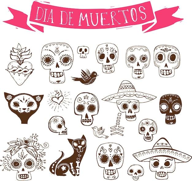 Doodles set teschio messicano giorno dei morti