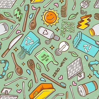 Doodles zero rifiuti disegnati a mano seamless pattern di sfondo