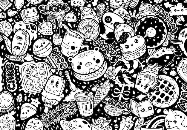 Simpatico negozio di caramelle di simpatici personaggi dei cartoni animati in stile kawaii. l'illustrazione e le lettere amano l'alimento dolce. inchiostro nero su sfondo bianco