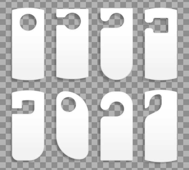 Appendini per una stanza in un hotel o resort isolato su sfondo trasparente. raccolta di vari appendini porta vuoti tag o modelli di etichette senza testo. non disturbare. illustrazione