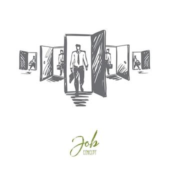 Porta, opportunità, lavoro, affari, concetto di carriera. uomo disegnato a mano in piedi davanti a diverse porte concept sketch.