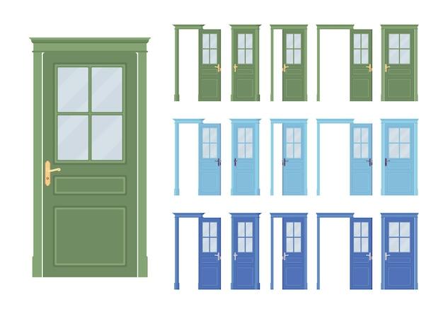 Set classico di porte, mezzo vetro in legno, ingresso di un edificio, stanza
