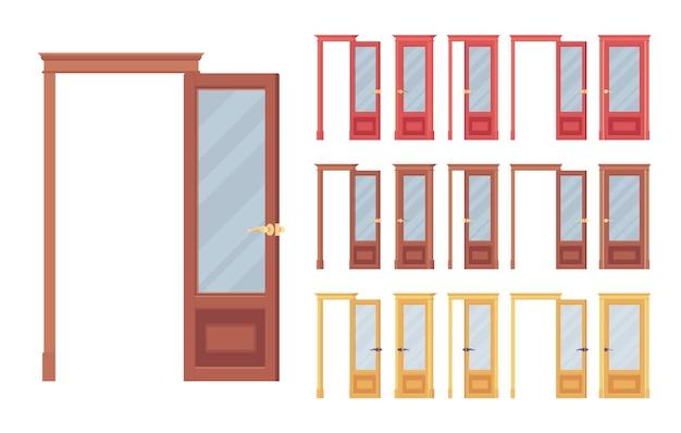 Set di porte classiche, in legno con vetro, ingresso di un edificio, stanza