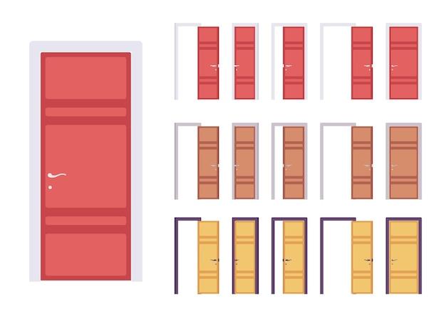 Porte moderne insieme, ingresso edificio, stanza