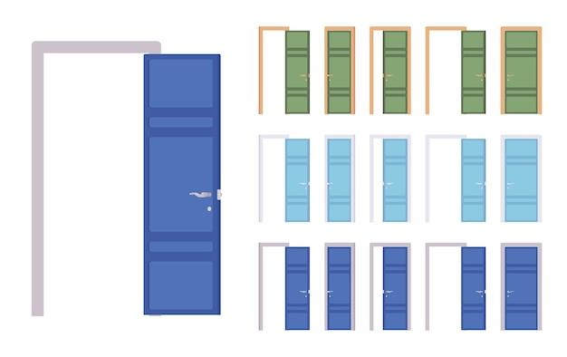 Set di porte moderne, ingresso all'edificio, stanza