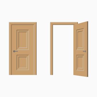 Set di porte: chiuse e aperte. illustrazione vettoriale.