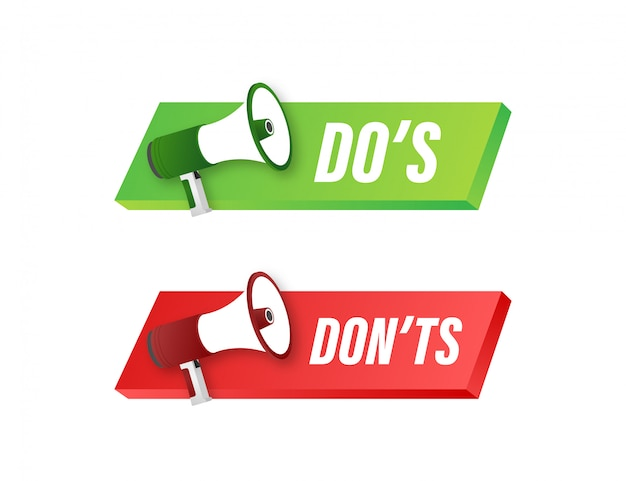 Dos e donts amano il pollice su o giù. semplice pollice su simbolo minimo rotondo elemento logotipo impostato su bianco. illustrazione.