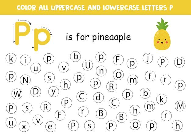 Punto o lettera a colori p. pagina di apprendimento dell'alfabeto per bambini in età prescolare. giochi abc. p sta per ananas.