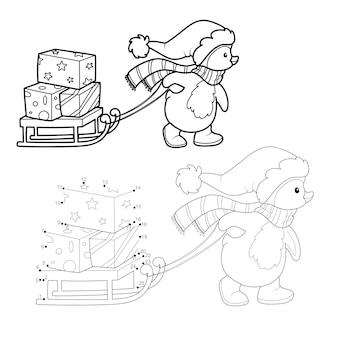 Puzzle di natale da punto a punto per bambini. unisci il gioco dei punti. illustrazione vettoriale di natale pinguino