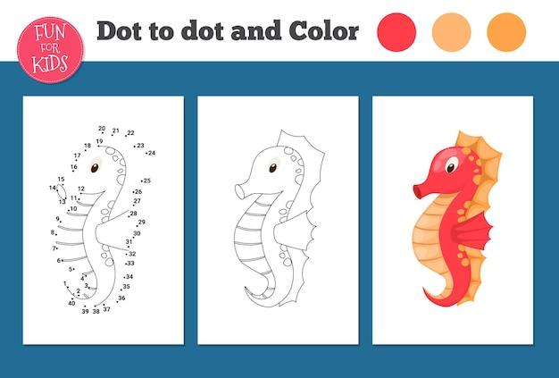 Gioco punto per punto per la scuola dei bambini. pagina da colorare per l'educazione dei bambini. numero gioco di puzzle linea di disegno. attività di matematica, studio dei compiti a casa. scuola a casa libro da colorare.