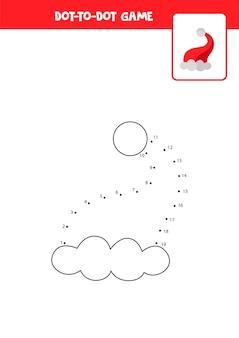Gioco punto per punto con cappello di natale cartone animato collega i punti gioco di matematica punto e immagine a colori