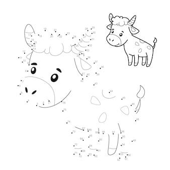 Punto per punto puzzle per bambini. collega il gioco dei punti. illustrazione del toro