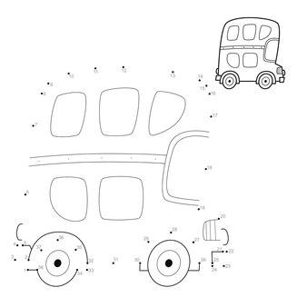 Punto per punto puzzle per bambini. collega il gioco dei punti. illustrazione di autobus