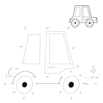Punto per punto puzzle per bambini. collega il gioco dei punti. illustrazione di auto