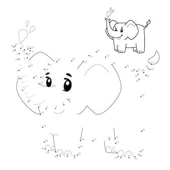 Punto per punto puzzle per bambini. collega il gioco dei punti. illustrazione di elefante