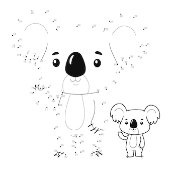 Punto per punto puzzle per bambini. collega il gioco dei punti. illustrazione di koala