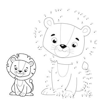 Punto per punto puzzle per bambini. collega il gioco dei punti. illustrazione del leone