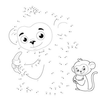 Punto per punto puzzle per bambini. collega il gioco dei punti. illustrazione di scimmia
