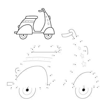 Punto per punto puzzle per bambini. collega il gioco dei punti. illustrazione della moto