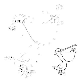 Punto per punto puzzle per bambini. collega il gioco dei punti. illustrazione del pellicano