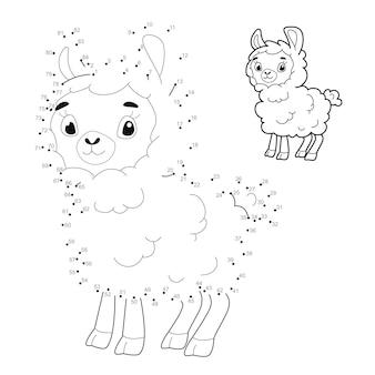 Punto per punto puzzle per bambini. collega il gioco dei punti. illustrazione delle pecore