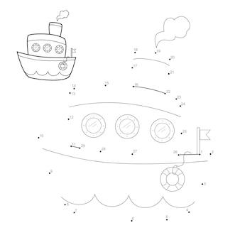 Punto per punto puzzle per bambini. collega il gioco dei punti. illustrazione della nave