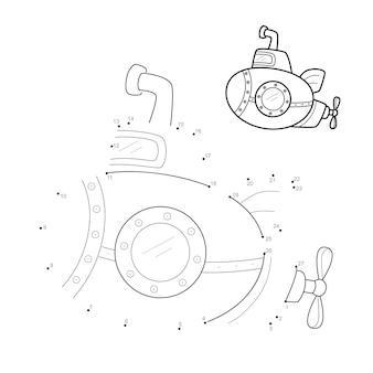 Punto per punto puzzle per bambini. collega il gioco dei punti. illustrazione sottomarino