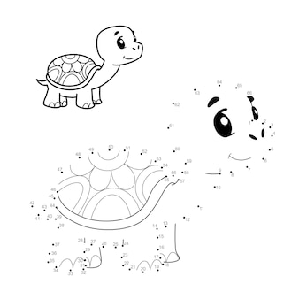 Punto per punto puzzle per bambini. collega il gioco dei punti. illustrazione di tartaruga