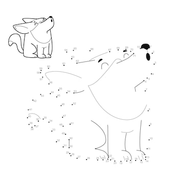 Punto per punto puzzle per bambini. collega il gioco dei punti. illustrazione del lupo