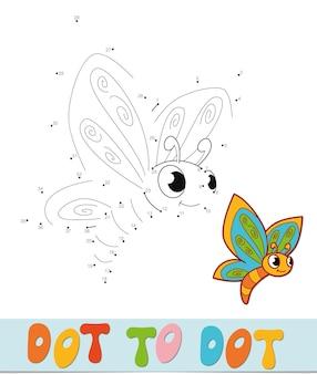 Puzzle da punto a punto. unisci il gioco dei punti. illustrazione vettoriale di farfalla