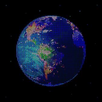 Dot globo terrestre isolato sul nero