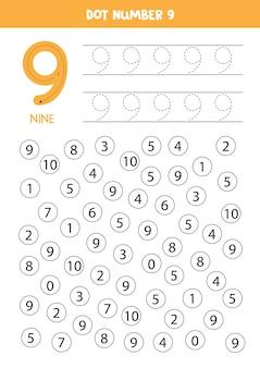 Numeri di punto. numero nove. gioco di matematica educativo per bambini.