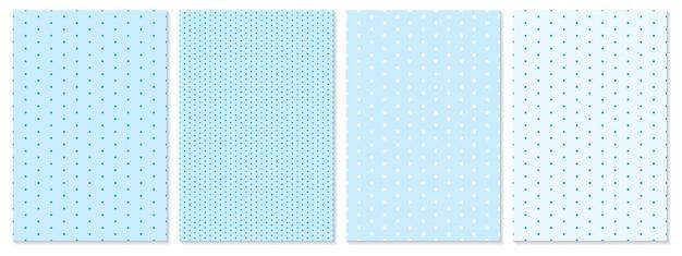 Modello di punti impostato. sfondo del bambino. colore blu. illustrazione vettoriale. motivo a pois.