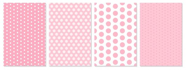 Set di modelli di punti. sfondo bambino. colore rosa. illustrazione. motivo a pois.
