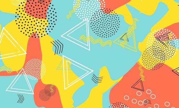 Punto terracotta art. modello geometrico di senape. sfondo acqua retrò. elementi liquidi. stampa contemporanea blu. illustrazione funky gialla. trama anni '90.
