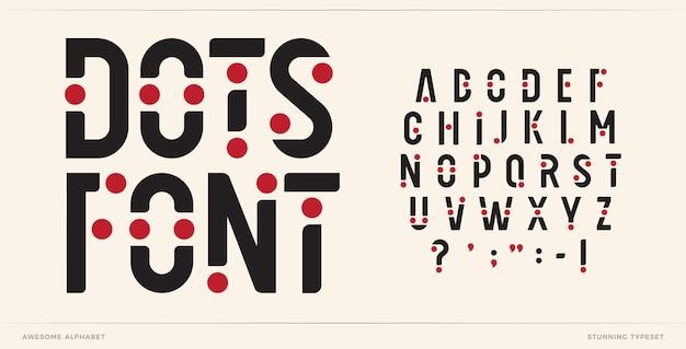 Lettere dell'alfabeto dei caratteri dell'arte dei punti lettere logo creative con punti tipografici futuristici alla moda