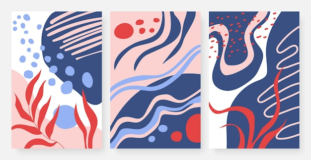 Le linee dei punti, le curve e le foglie impostano il modello di forme della natura del disegno a mano minimalista