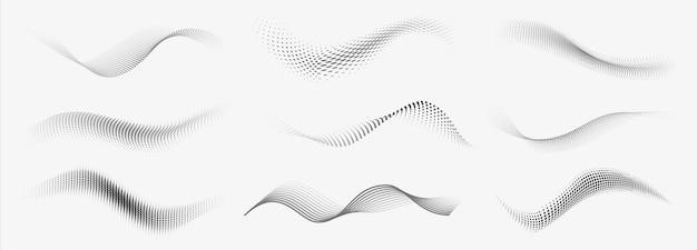 Onde di mezzitoni punteggiate. forme liquide astratte, set di onde texture sfumate punteggiate effetto onda