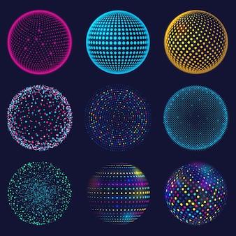 Sfera 3d al neon punteggiata. sfere punteggiate atomiche astratte, insieme di forme sferiche d'ardore di griglia 3d