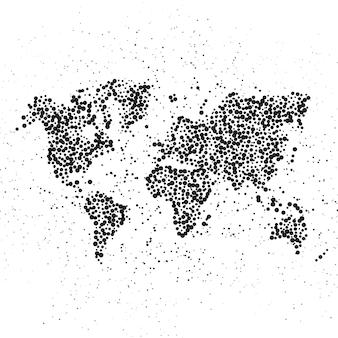 Mappa del mondo punteggiata. l'illustrazione del concetto di globo
