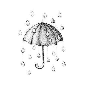 Ombrello dotwork pioggia. illustrazione vettoriale di ombrellone con gocce. schizzo disegnato a mano tatuaggio hipster.