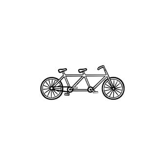 Icona di doodle di contorno disegnato a mano doppia bicicletta. bici tandem, viaggio di piacere e concetto di trasporto ecologico