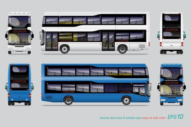 Modello di autobus a due piani per auto branding e pubblicità isolato su sfondo grigio.