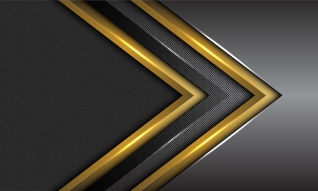 Fondo futuristico della maglia del cerchio di direzione della freccia del metallo grigio scuro del doppio oro.