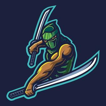 Doppia katana esport logo illustrazione