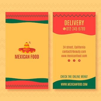 Modello di biglietto da visita verticale fronte-retro per ristorante di cucina messicana