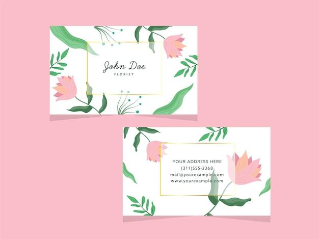 Doppi lati del design floreale biglietto da visita isolato su rosa