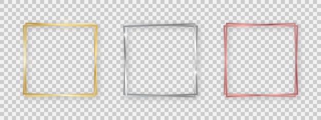 Cornici doppie lucide quadrate con effetti luminosi. set di tre cornici quadrate doppie in oro, argento e oro rosa con ombre su sfondo trasparente. illustrazione vettoriale