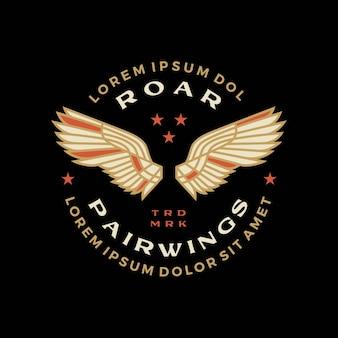 Illustrazione dell'icona di vettore del logo del distintivo della doppia ala
