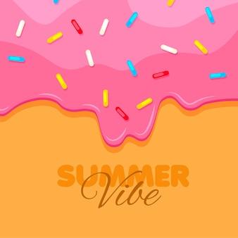 Ciambella da vicino ciambella rosa dolce atmosfera estiva